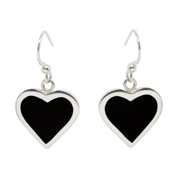 Silver Whitby Jet Heart Drop Earrings