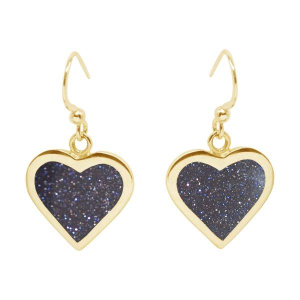 Yellow Gold Blue Goldstone Heart Drop Earrings