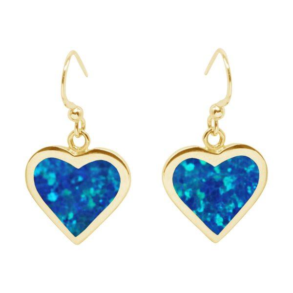 Yellow Gold Oplaite Heart Drop Earrings