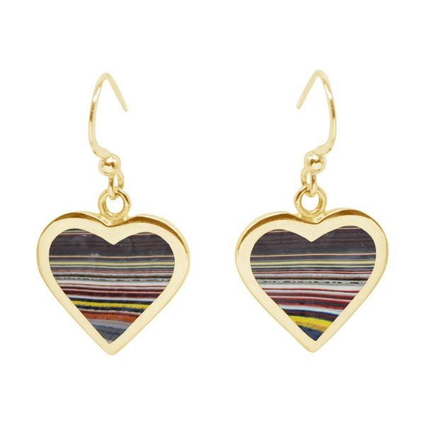 Yellow Gold Fordite Heart Drop Earrings