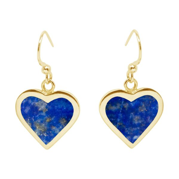 Yellow Gold Lapis Heart Drop Earrings