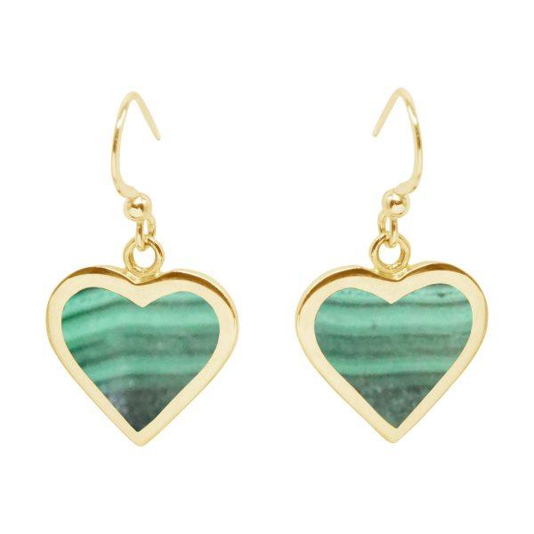 Yellow Gold Malachite Heart Drop Earrings