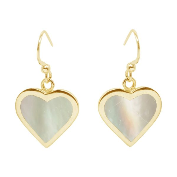 Yellow Gold Mother of Pearl Heart Drop Earrings