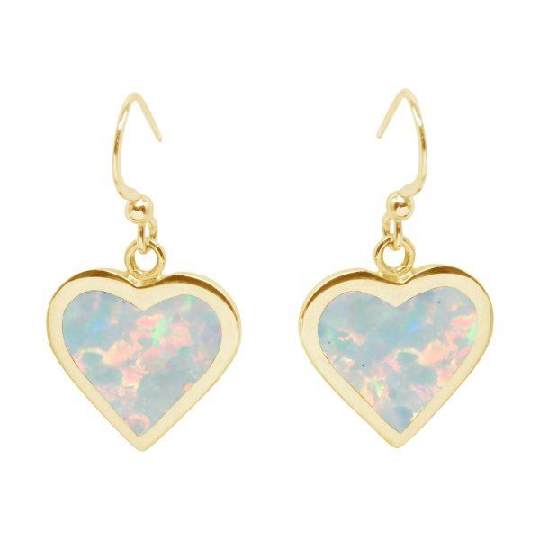 Yellow Gold Opalite Sun Ice Heart Drop Earrings