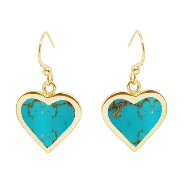 Yellow Gold Turquoise Heart Drop Earrings