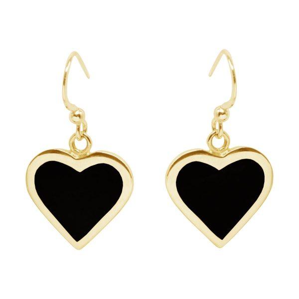 Yellow Gold Whitby Jet Heart Drop Earrings