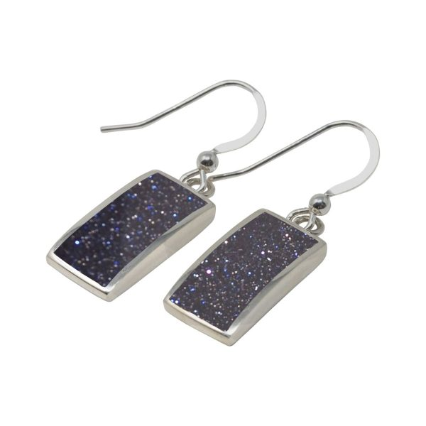 Silver Blue Goldstone Drop Earrings