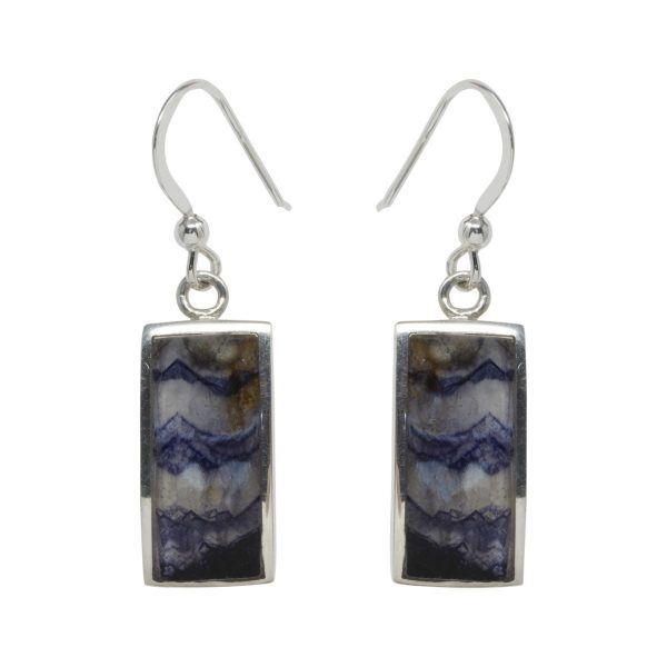 Silver Rectangular Shaped Blue John Drop Earrings