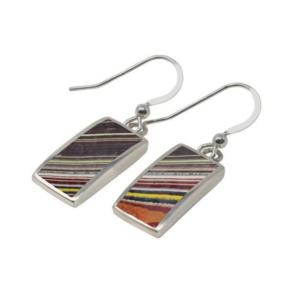 Silver Fordite Drop Earrings