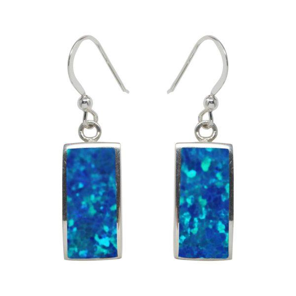 White Gold Cobalt Blue Opalite Drop Earrings