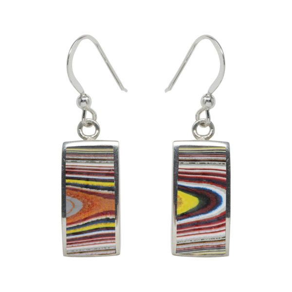 White Gold Fordite Drop Earrings