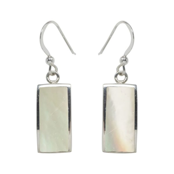 White Gold Mother of Pearl Drop Earrings
