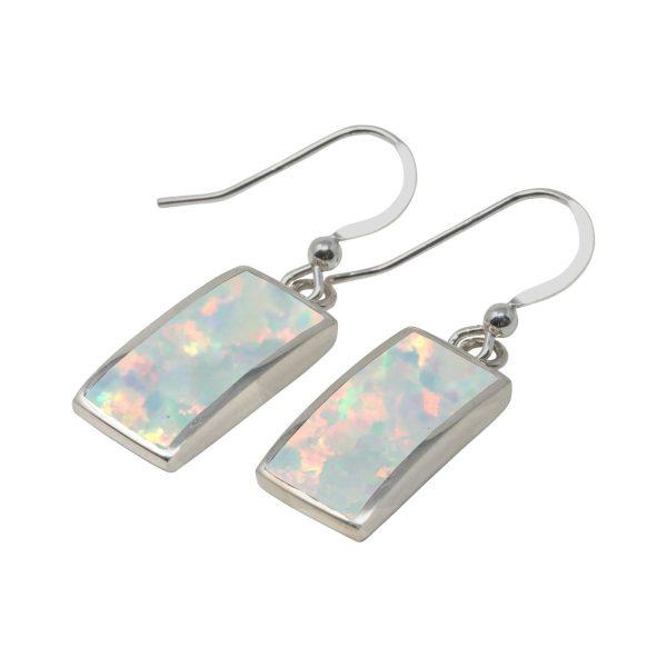 White Gold Opalite Sun Ice Drop Earrings
