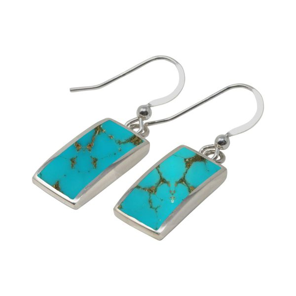 White Gold Turquoise Drop Earrings