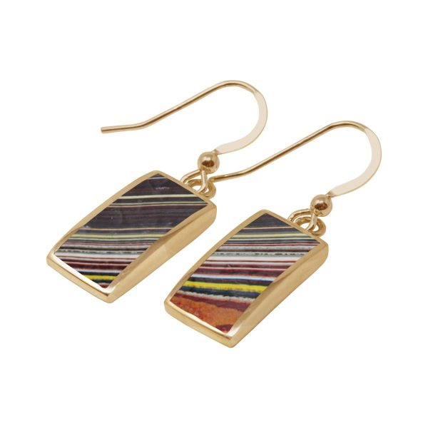 Yellow Gold Fordite Drop Earrings