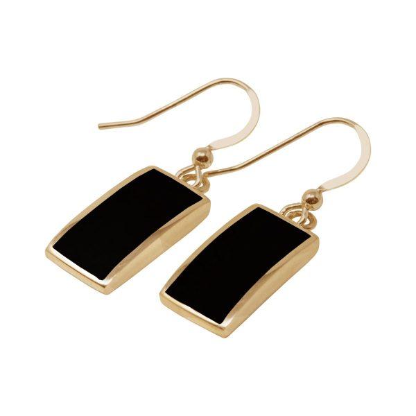 Yellow Gold Whitby Jet Drop Earrings