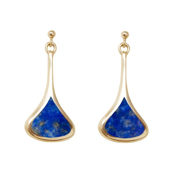 Yellow Gold Lapis Drop Earrings