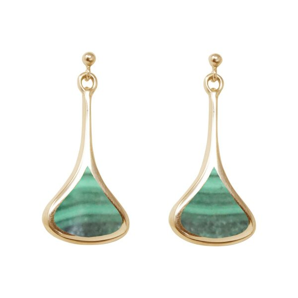 Yellow Gold Malachite Drop Earrings