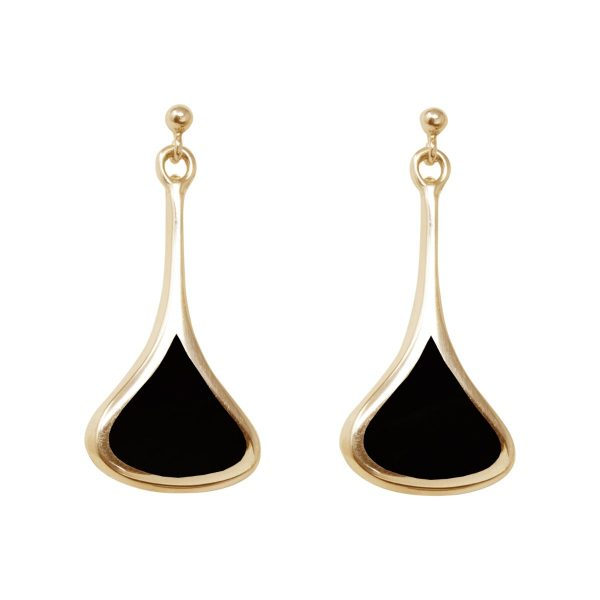 Yellow Gold Whitby Jet Drop Earrings