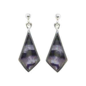 Silver Blue John Kite Shaped Drop Earrings