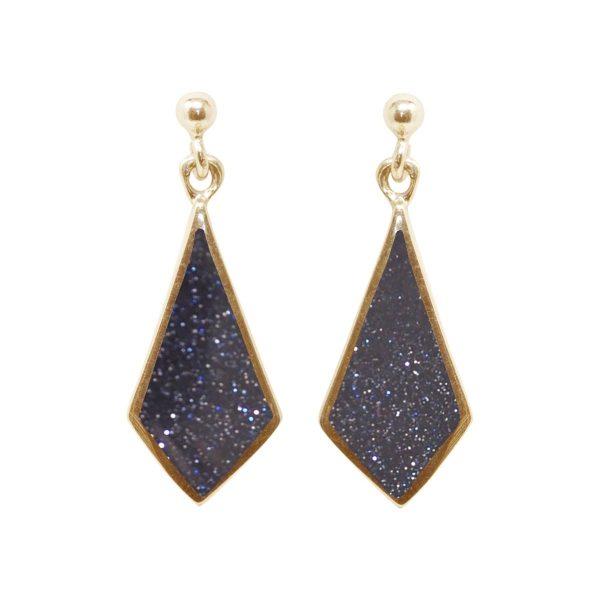 Yellow Gold Blue Goldstone Drop Earrings