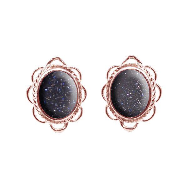 Rose Gold Blue Goldstone Oval Frill Edge Stud Earrings