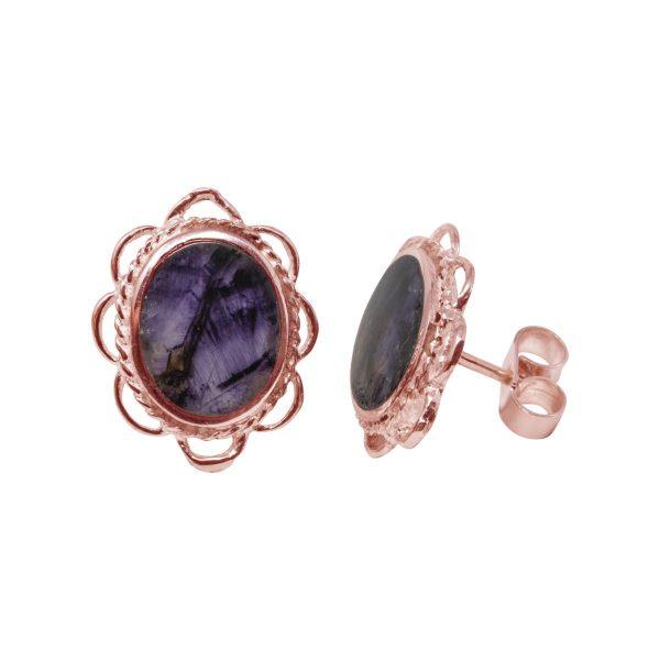Rose Gold Blue John Oval Frill Edge Stud Earrings