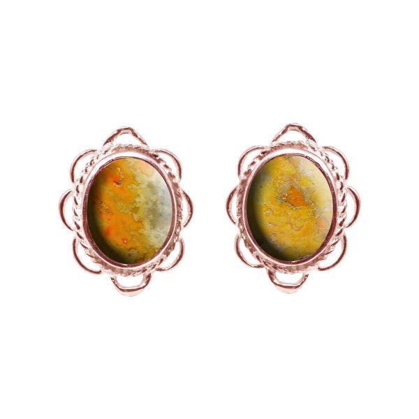 Rose Gold Bumblebee Jasper Oval Frill Edge Stud Earrings