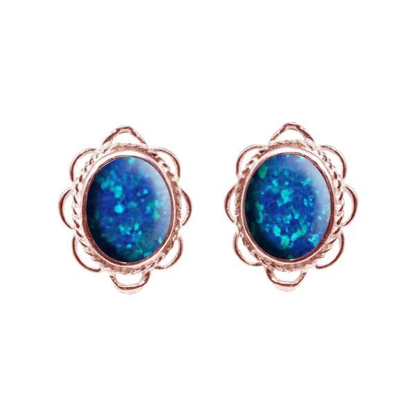Rose Gold Cobalt Blue Opalite Oval Frill Edge Stud Earrings