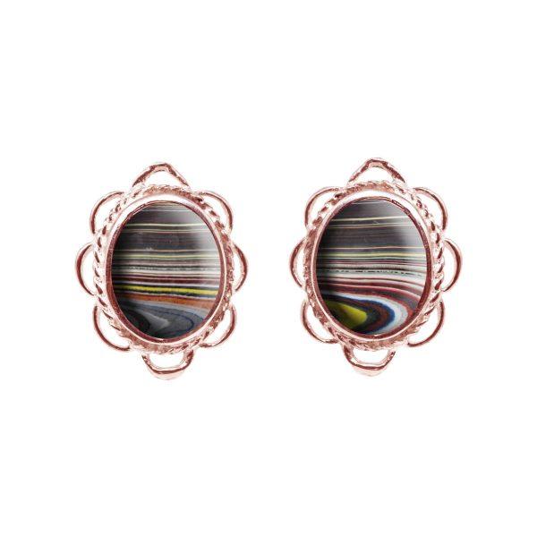 Rose Gold Fordite Oval Frill Edge Stud Earrings