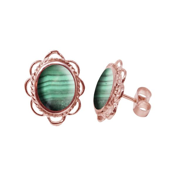 Rose Gold Malachite Oval Frill Edge Stud Earrings