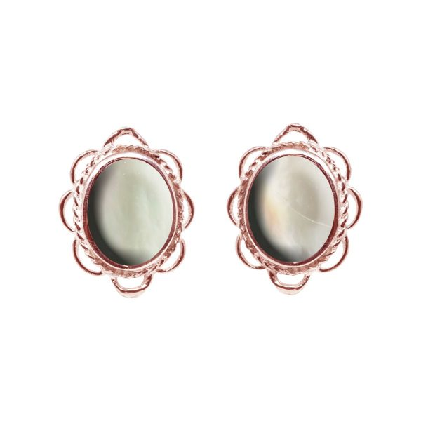 Rose Gold Mother of Pearl Oval Frill Edge Stud Earrings
