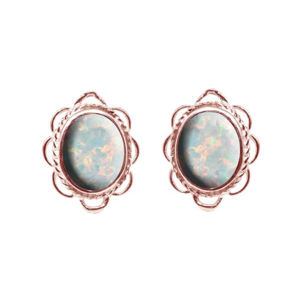 Rose Gold Sun Ice Oval Frill Edge Stud Earrings