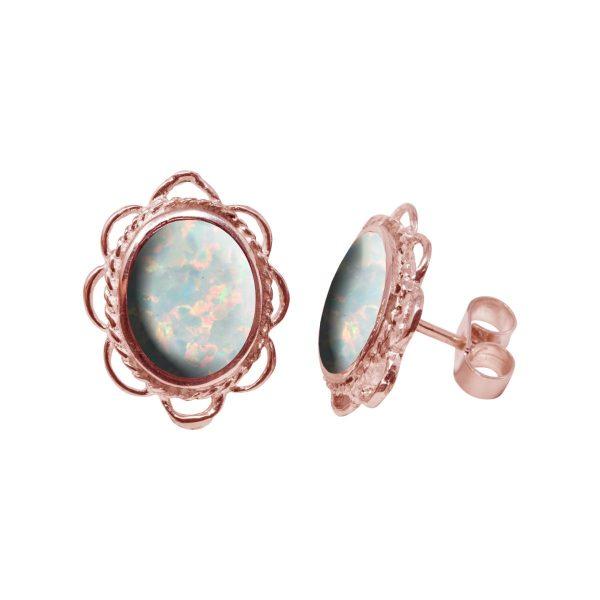Rose Gold Opalite Sun Ice Oval Frill Edge Stud Earrings
