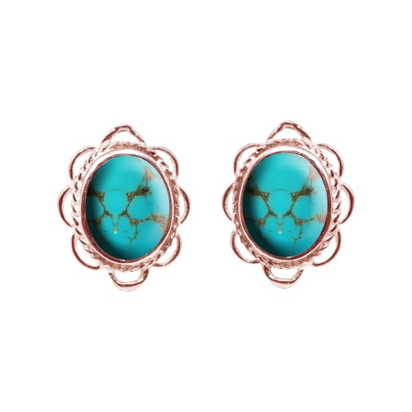 Rose Gold Turquoise Oval Frill Edge Stud Earrings