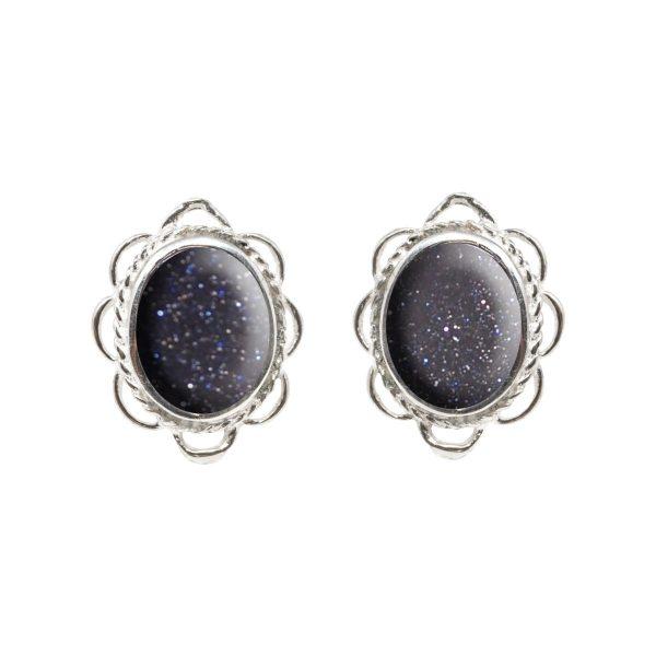 Silver Blue Goldstone Oval Frill Edge Stud Earrings