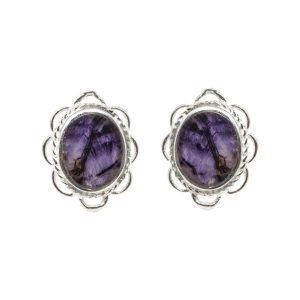 Silver Oval Stone Blue John Stud Earrings Frill Edge