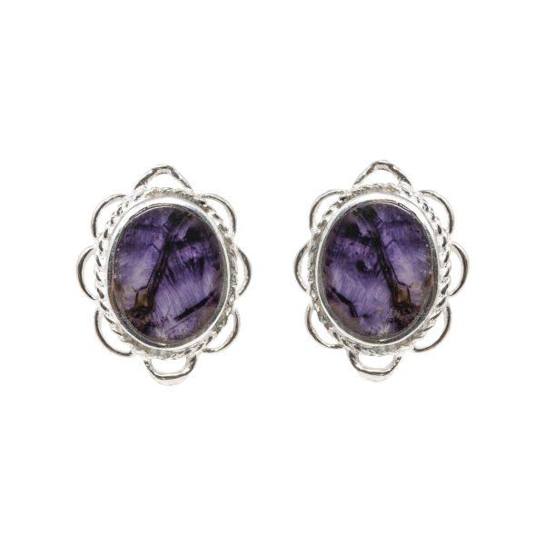 Silver Oval Stone Blue John Stud Earrings Frill Edge