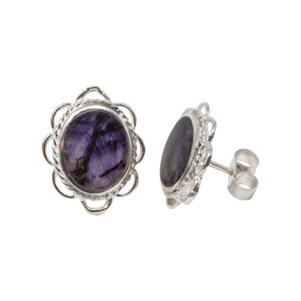 Silver Blue John Oval Frill Edge Stud Earrings