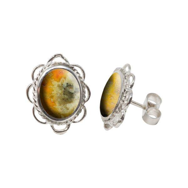 Silver Bumblebee Jasper Oval Frill Edge Stud Earrings