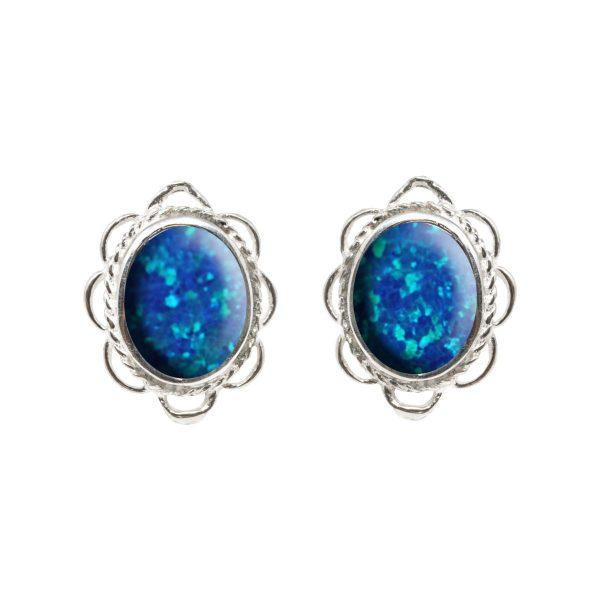 Silver Cobalt Blue Opalite Oval Frill Edge Stud Earrings
