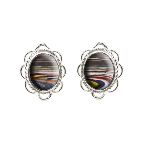 Silver Fordite Oval Frill Edge Stud Earrings