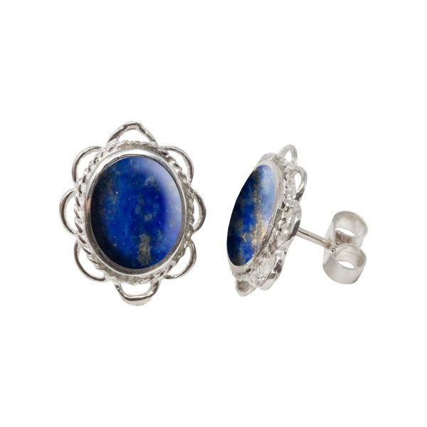 Silver Lapis Oval Frill Edge Stud Earrings