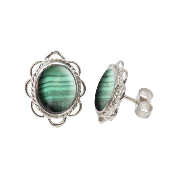 Silver Malachite Oval Frill Edge Stud Earrings