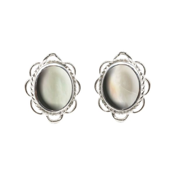 Silver Mother of Pearl Oval Frill Edge Stud Earrings