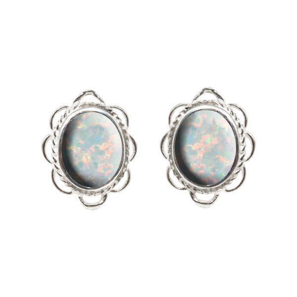 Silver Sun Ice Opalite Oval Frill Edge Stud Earrings
