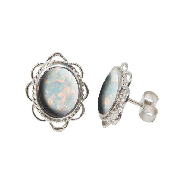 Silver Opalite Sun Ice Oval Frill Edge Stud Earrings