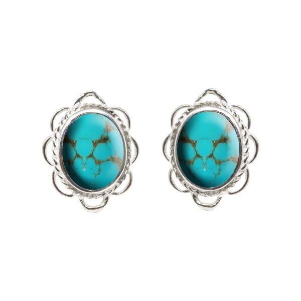 Silver Turquoise Oval Frill Edge Stud Earrings