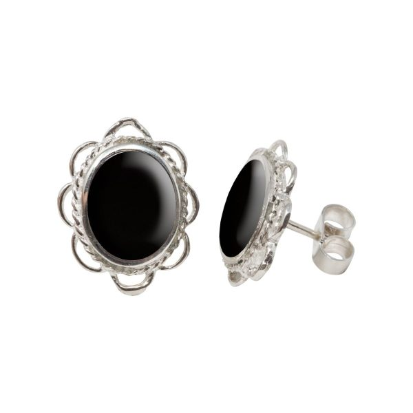 Silver Whitby Jet Oval Frill Edge Stud Earrings