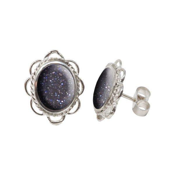 White Gold Blue Goldstone Oval Stud Earrings